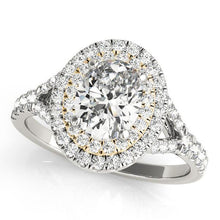 Load image into Gallery viewer, 7/8 ct tw Halo Oval Engagement Ring with G Color SI1 Clarity Diamonds GIA Center Stone.