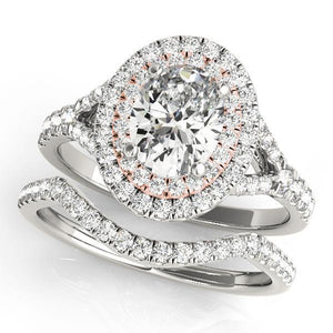 7/8 ct tw Halo Oval Engagement Ring with G Color SI1 Clarity Diamonds GIA Center Stone.