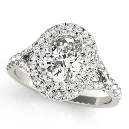7/8 ct tw Halo Oval Engagement Ring F VS Diamonds GIA Center Stone