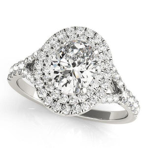 1 3/8 ct tw Halo Oval Engagement Ring F VS Diamonds GIA Center Stone