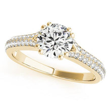 1 1/5 ct tw MultiRow Pave Engagement Ring F VS Diamonds GIA Center Stone
