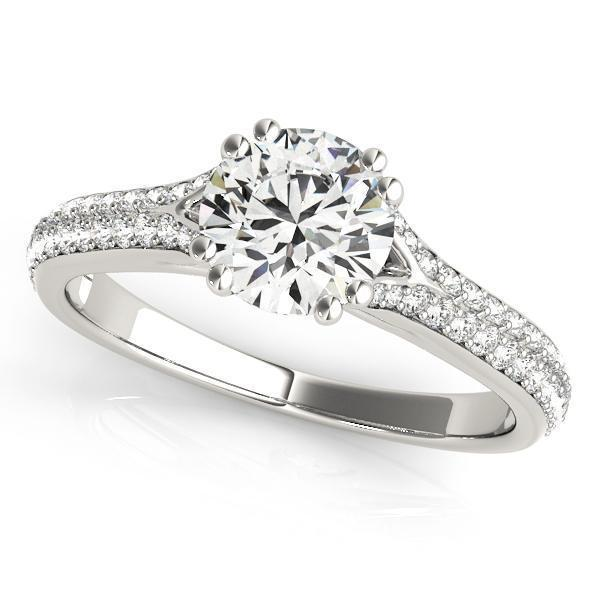 1 1/5 ct tw MultiRow Pave Engagement Ring with G Color SI1 Clarity Diamonds GIA Center Stone.