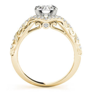 1 1/6 ct tw Halo Round Vintage Engagement Ring F VS Diamonds GIA Center Stone