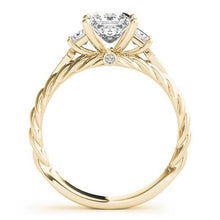 1 1/6 ct tw Three Stone Princess Vintage Engagement Ring F VS Diamonds GIA Center Stone