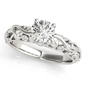 5/8 ct tw Antique Style   Engagement Ring with G Color SI1 Clarity Diamonds GIA Center Stone.