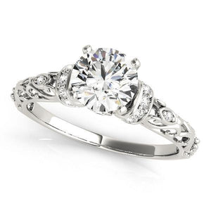 2/3 ct tw Antique Style Cluster Sides Engagement Ring with G Color SI1 Clarity Diamonds GIA Center Stone.