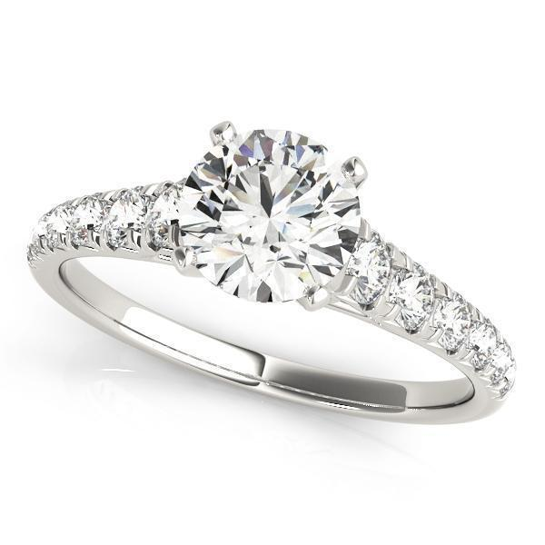2/3 ct tw Single Row Prong Set Engagement Ring with G Color SI1 Clarity Diamonds GIA Center Stone.