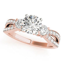 Load image into Gallery viewer, 3/4 ct tw MultiRow Three Stone Engagement Ring F VS Diamonds GIA Center Stone