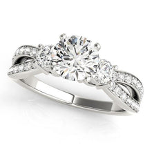 3/4 ct tw MultiRow Three Stone Engagement Ring F VS Diamonds GIA Center Stone
