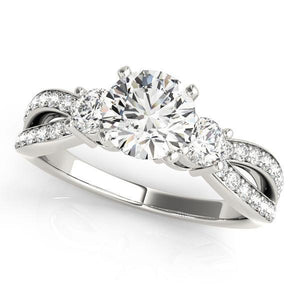 3/4 ct tw MultiRow Three Stone Engagement Ring with G Color SI1 Clarity Diamonds GIA Center Stone.
