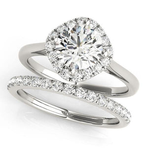1 1/6 ct tw Cushion Cut Halo Engagement Ring with G Color SI1 Clarity Diamonds GIA Center Stone.