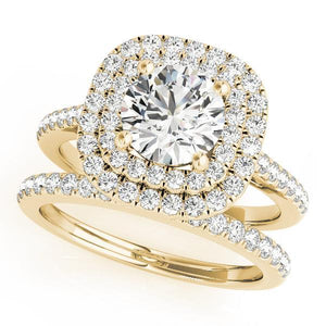 1 1/2 ct tw Halo Engagement Ring with G Color SI1 Clarity Diamonds GIA Center Stone.