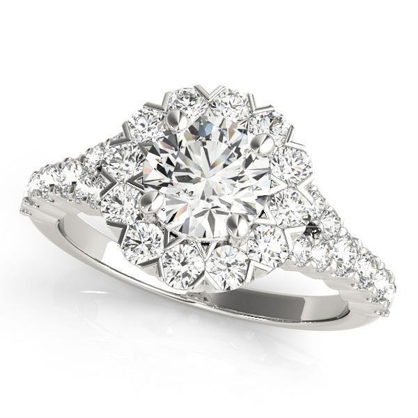 1 7/8 ct tw Halo Engagement Ring with G Color SI1 Clarity Diamonds GIA Center Stone.