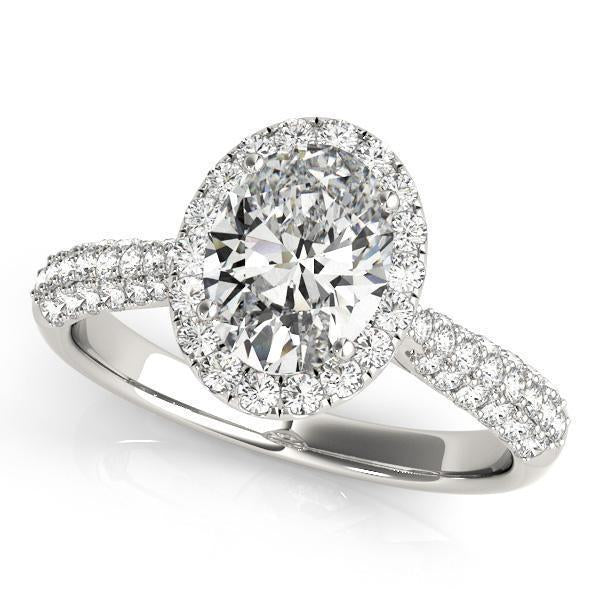 1 1/3 ct tw Halo Oval Pave Engagement Ring with G Color SI1 Clarity Diamonds GIA Center Stone.