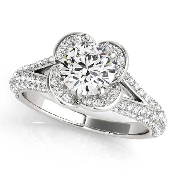 1 3/4 ct tw Halo Round Pave Engagement Ring with G Color SI1 Clarity Diamonds GIA Center Stone.
