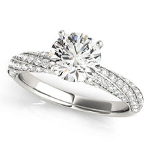 1 ct tw MultiRow   Pave Engagement Ring with G Color SI1 Clarity Diamonds GIA Center Stone.