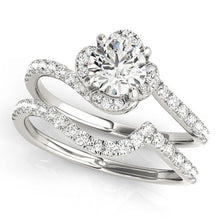 1 1/3 ct tw Halo Round Bypass Engagement Ring with E Color SI1 Clarity Diamonds GIA Center Stone.