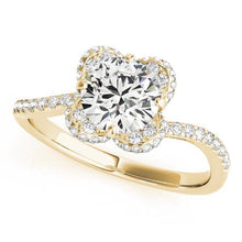 Load image into Gallery viewer, 1 1/3 ct tw Halo Round Bypass Engagement Ring with G Color SI1 Clarity Diamonds GIA Center Stone.