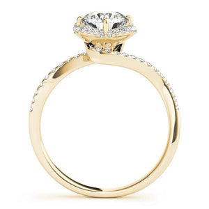 1 1/3 ct tw Halo Round Bypass Engagement Ring with G Color SI1 Clarity Diamonds GIA Center Stone.