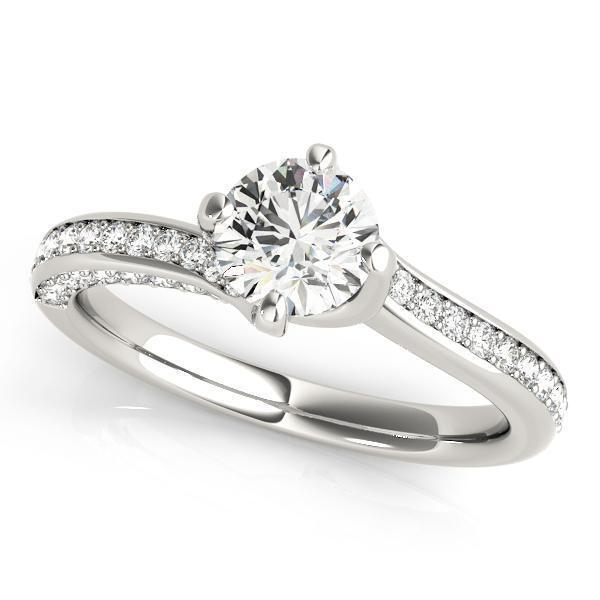 1 ct tw MultiRow Bypass Engagement Ring with G Color SI1 Clarity Diamonds GIA Center Stone.