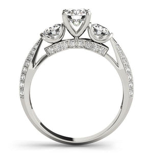 3 1/10 ct tw  PaveThree Stone Engagement Ring with G Color SI1 Clarity Diamonds GIA Center Stone.