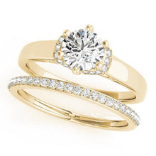 5/8 ct tw Single Row Prong Set Engagement Ring with G Color SI1 Clarity Diamonds GIA Center Stone.