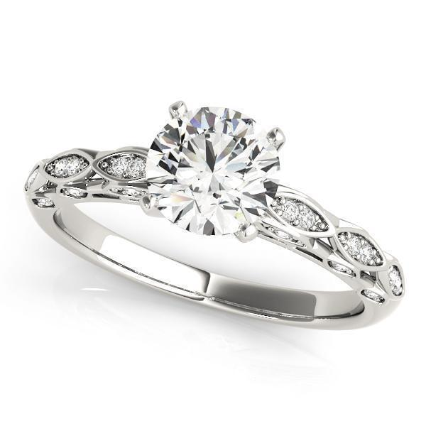 1 1/6 ct tw Antique Style MultiRow Engagement Ring with G Color SI1 Clarity Diamonds GIA Center Stone.