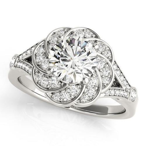1 1/4 ct tw Halo Engagement Ring with G Color SI1 Clarity Diamonds GIA Center Stone.