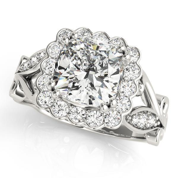 3/4 ct tw Halo  Diamond Engagement Ring with G Color SI1 Clarity Diamonds GIA Center Stone.