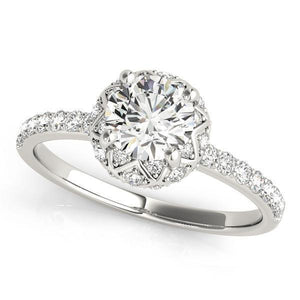 1 ct tw Halo Antique Style Round Diamond Engagement Ring with G Color SI1 Clarity Diamonds GIA Center Stone.