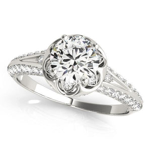 1 1/4 ct tw MultiRow Antique Style Engagement Ring with G Color SI1 Clarity Diamonds GIA Center Stone.