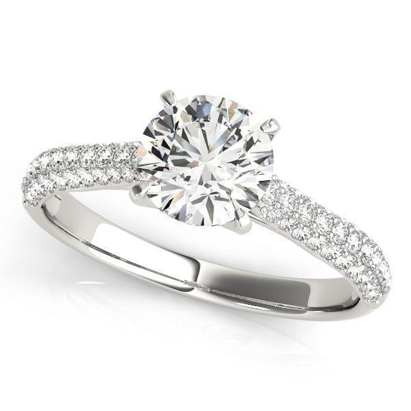1 3/8 ct tw MultiRow Pave Diamond Engagement Ring with G Color SI1 Clarity Diamonds GIA Center Stone.