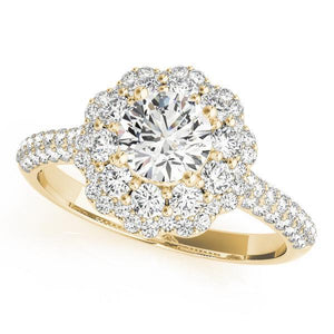 1 1/6 ct tw Halo Round Diamond Pave Engagement Ring with G Color SI1 Clarity Diamonds GIA Center Stone.
