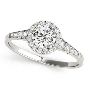3/4 ct tw Halo Round Diamond Engagement Ring with G Color SI1 Clarity Diamonds GIA Center Stone.