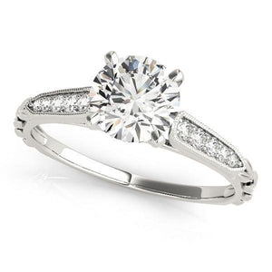 3/8 ct tw Antique Style Single Row Prong Set Diamond Engagement Ring with G Color SI1 Clarity Diamonds GIA Center Stone.