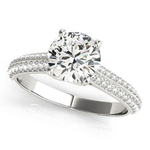 1/2 ct tw Pave Antique Style Diamond Engagement Ring with G Color SI1 Clarity Diamonds GIA Center Stone.