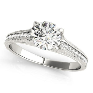 3/4 ct tw Single Row Prong Set Antique Style Diamond Engagement Ring with G Color SI1 Clarity Diamonds GIA Center Stone.