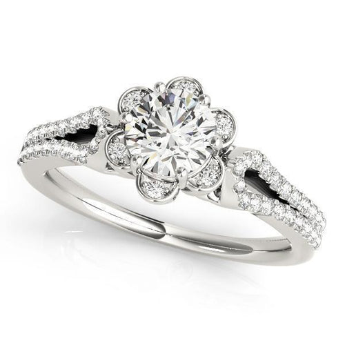 1 1/4 ct tw Halo RoundMultiRow   Engagement Ring with F Color VS Clarity GIA Certified Diamond