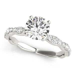 1 ct tw Single Row Prong Set Engagement Ring with G Color SI1 Clarity Diamonds GIA Center Stone.