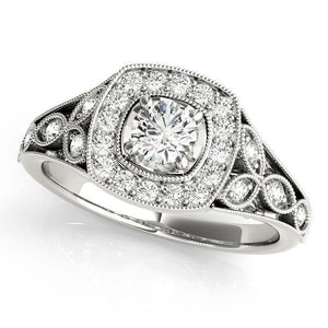 1/4 ct tw Halo Round Antique Style   Engagement Ring with G Color SI1 Clarity Diamonds GIA Center Stone.