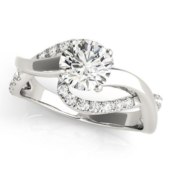 1/2 ct tw  Bypass Diamond Engagement Ring with G Color SI1 Clarity Diamonds GIA Center Stone.