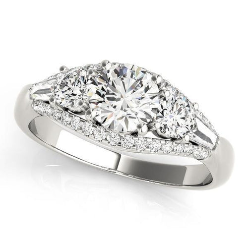 1 3/8 ct tw Three Stone Round MultiRow  Engagement Ring with G Color SI1 Clarity Diamonds GIA Center Stone.
