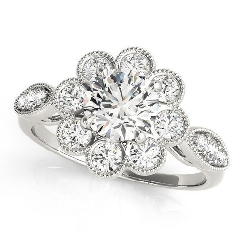 1 1/5 ct tw Halo Round Antique Style   Engagement Ring with G Color SI1 Clarity Diamonds GIA Center Stone.
