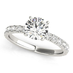 1 1/3 ct tw Single Row Engagement Ring F VS Diamonds GIA Center Stone