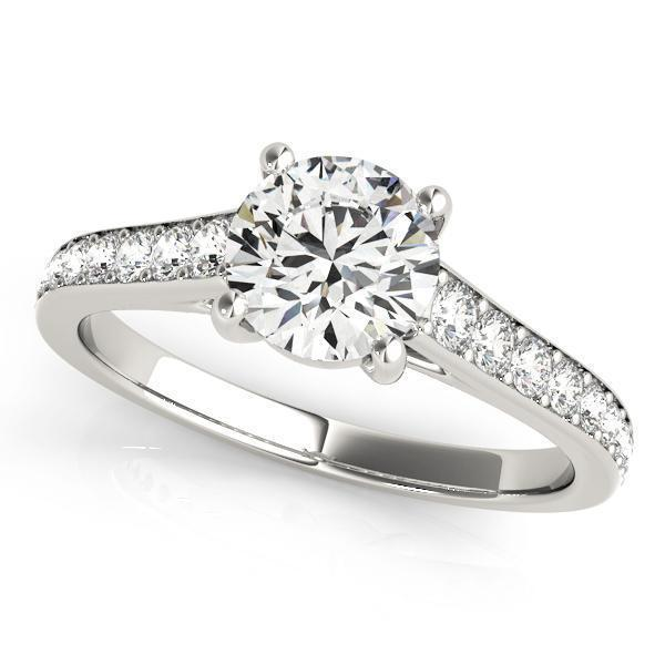 1 1/3 ct tw Single Row Prong Set Engagement Ring with G Color SI1 Clarity Diamonds GIA Center Stone.