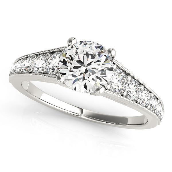 1 3/8 ct tw Single Row Prong Set Engagement Ring with G Color SI1 Clarity Diamonds GIA Center Stone.