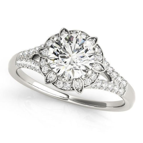 1 ct tw Halo Round Antique Style   Engagement Ring with G Color SI1 Clarity Diamonds GIA Center Stone.
