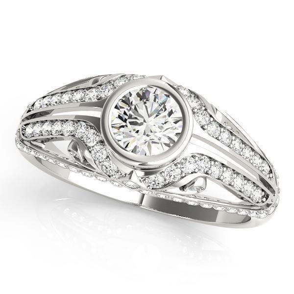 1 3/8 ct tw Antique Style   Engagement Ring with G Color SI1 Clarity Diamonds GIA Center Stone.