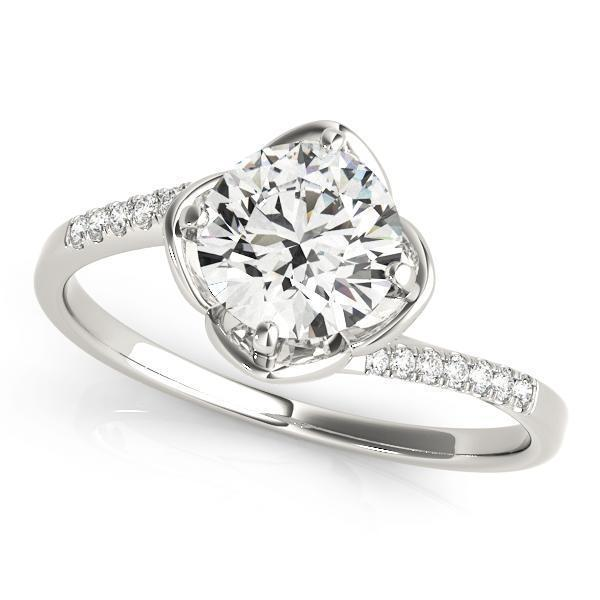 1/2 ct tw Bypass Single Row Prong Set Engagement Ring with G Color SI1 Clarity Diamonds GIA Center Stone.