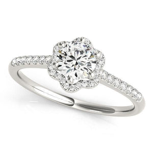 5/8 ct tw Halo Engagement Ring with G Color SI1 Clarity Diamonds GIA Center Stone.